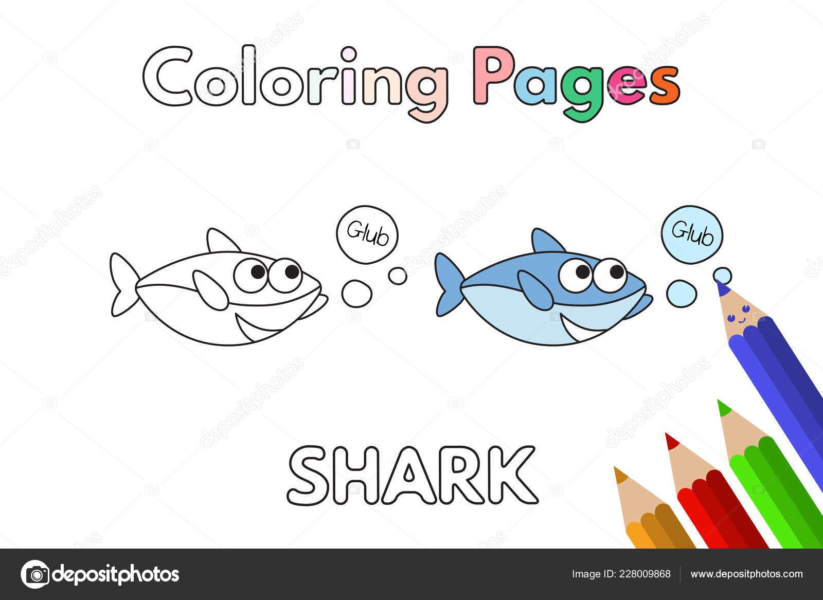 Libro Para Colorear De Dibujos Animados Tiburones Vector