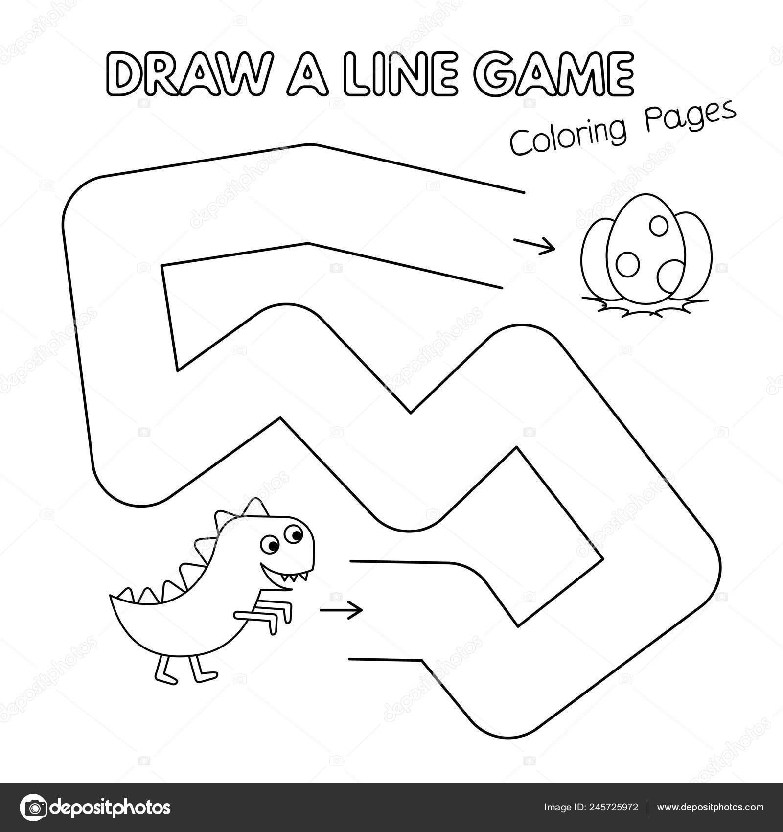 Dinosaurio De Dibujos Animados Para Colorear Juego De Libro