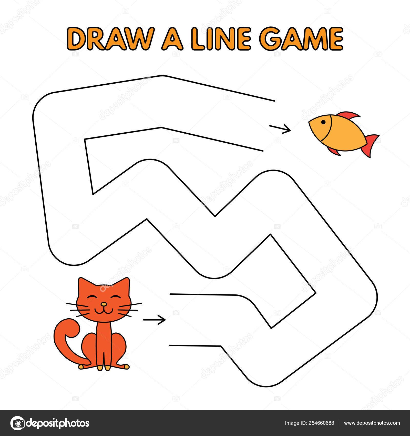 Cartoon Cat Drawing Easy Cartoon Cat Draw A Line Game For Kids Stock Vector C Roman Volkov 254660688