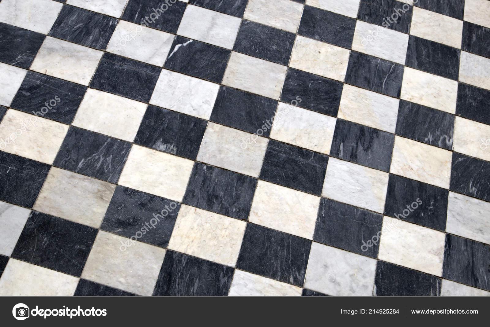 Antique Carreaux Sol Marbre Fond Carrelage Noir Blanc Vue Diagonale ...