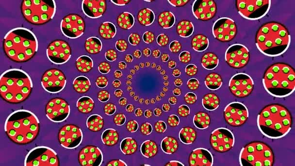 Spinning background with running in circles in different directions stylized ladybugs, seamless loop footage