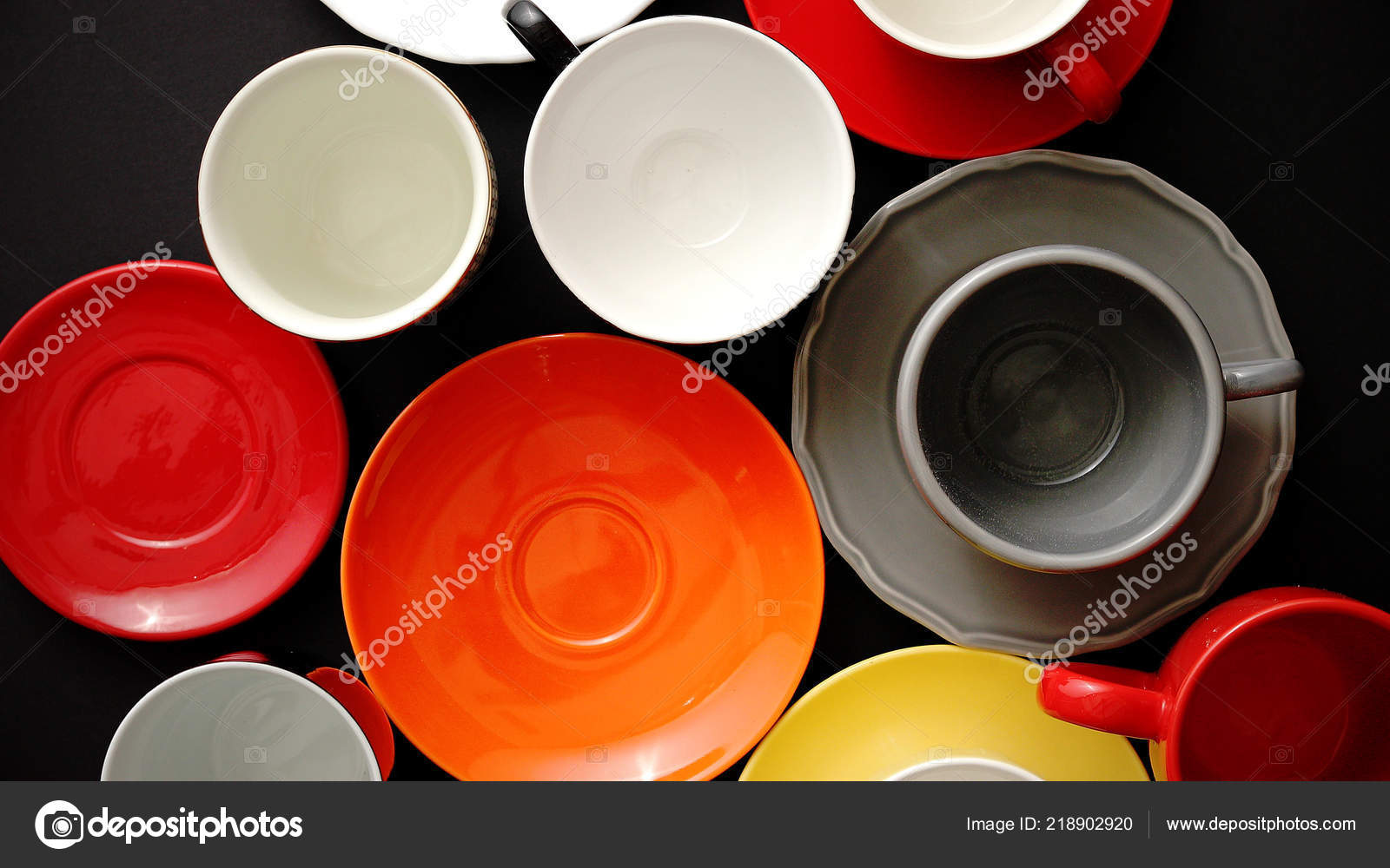 Empty Colorful Modern Ceramic Plates And Cups Collection Stock Photo Image By C Dashek 218902920