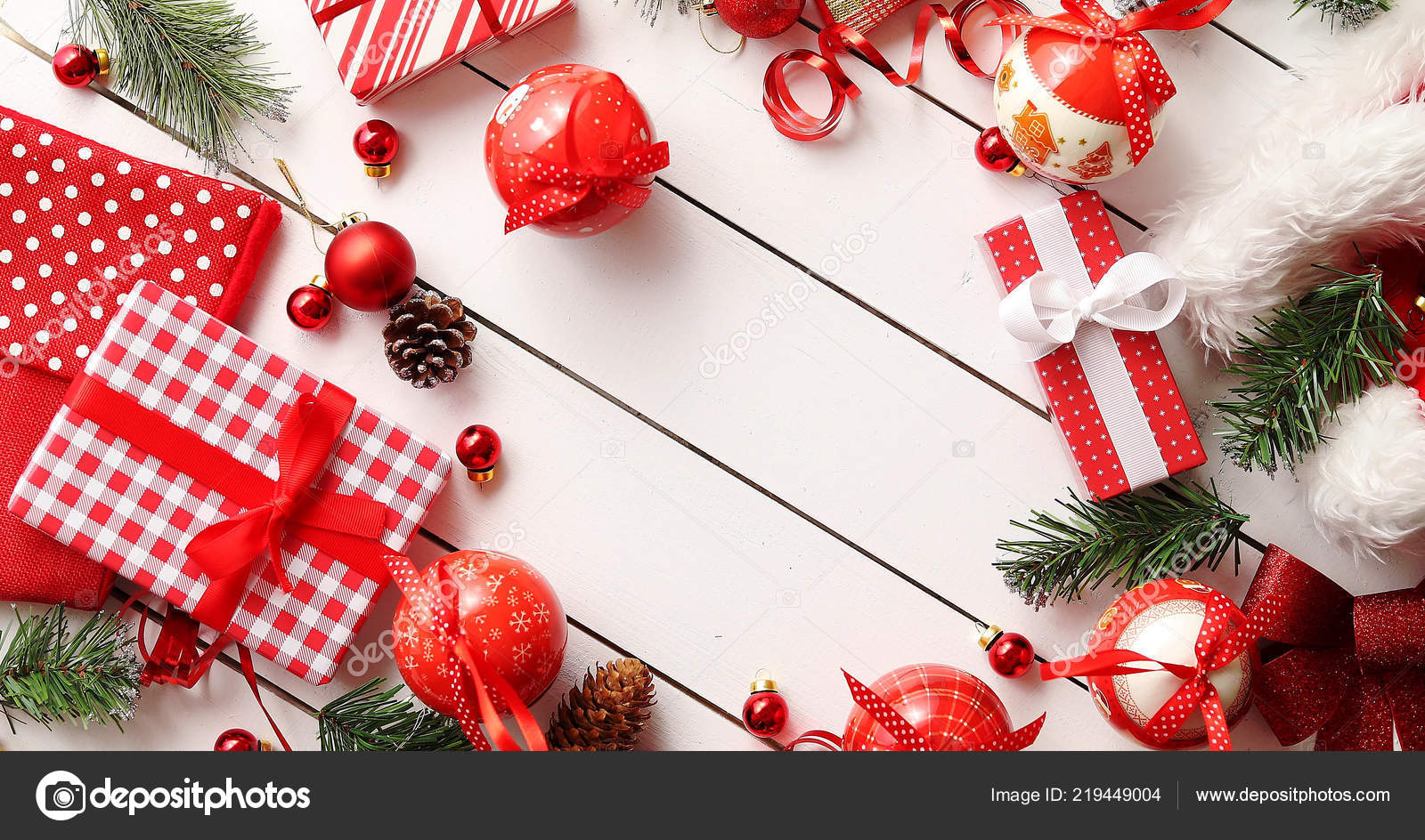 Border from Christmas presents and decorations — Stock Photo ...
