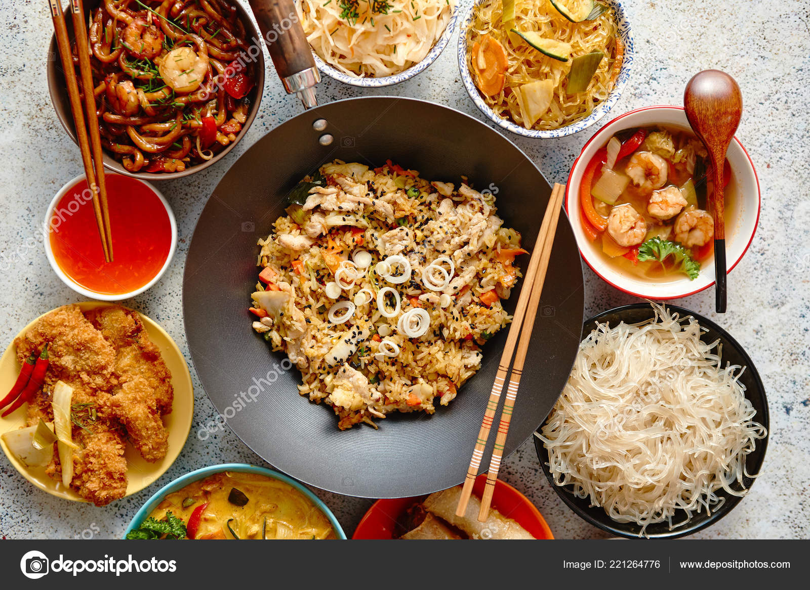 Asian style dishes set