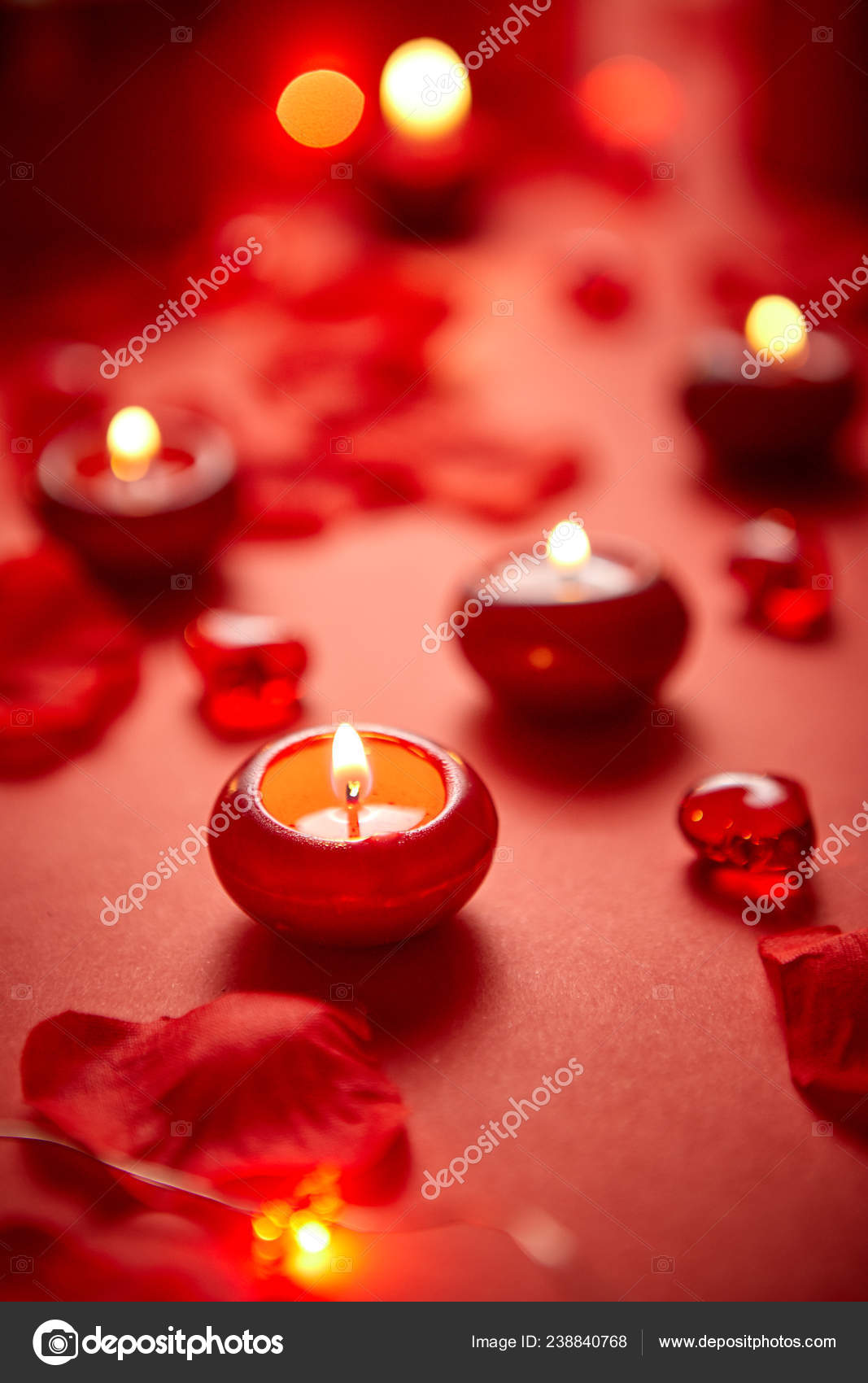 Romantic Dinner Decoration Red Candles Flower Petals On The Table Stock Photo C Dashek 238840768