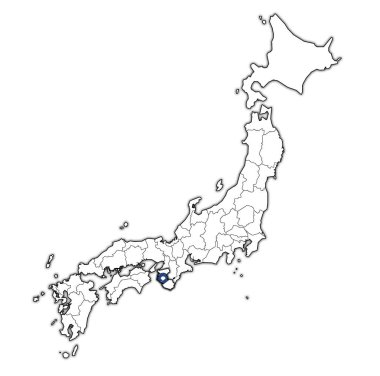 flag of wakayama prefecture on map with administrative divisions and borders of japan