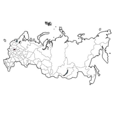 emblem of federal city of moscow  on map with administrative divisions and borders of russia