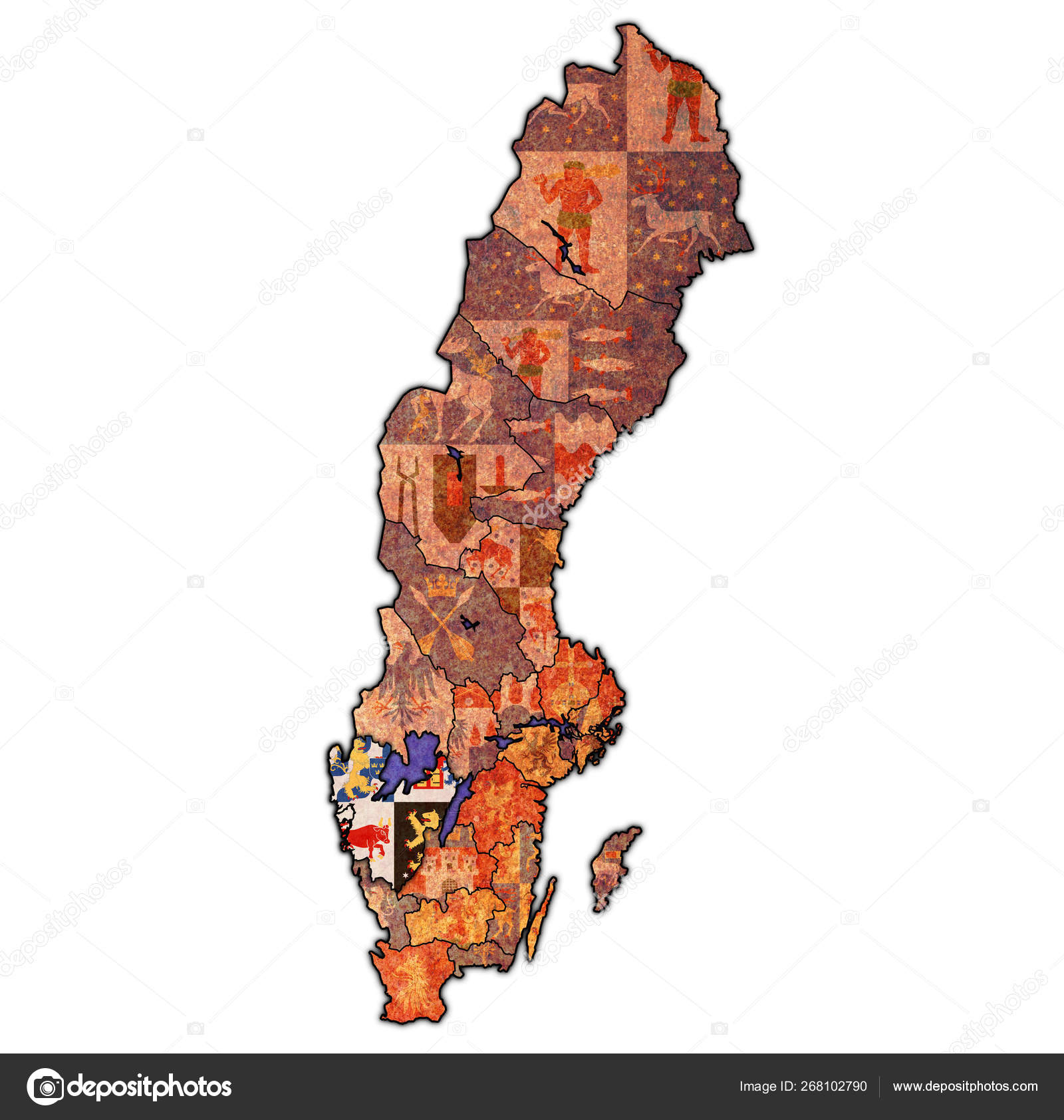 Vastra Gotaland On Map Of Swedish Counties Stock Photo C Michal812 268102790