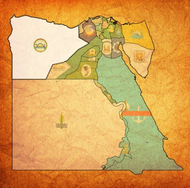 flag of Matrouh on map of Egypt Governorates