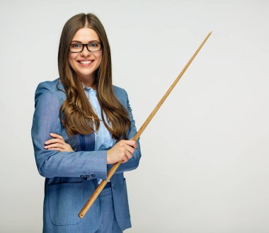 Classic university teacher wearing suit and eyeglasses holding wooden pointer
