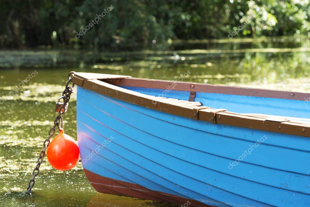 Detail of angler boat at Lake Balaton, Hungary