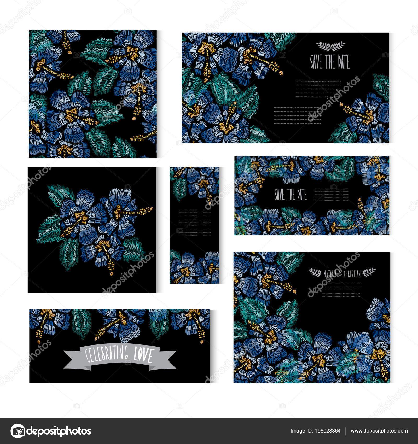 Elegant Cards Decorative Hibiscus Flowers Design Elements Can Used