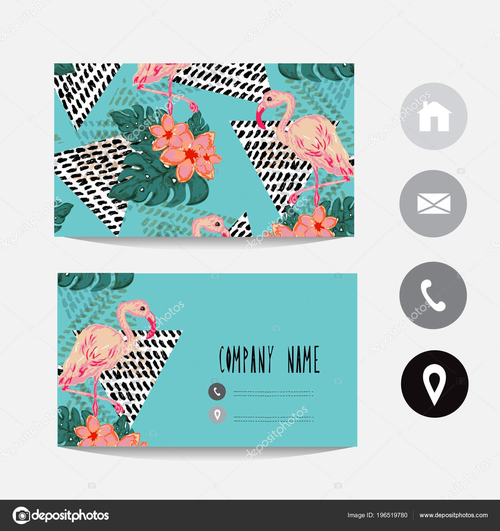 Plantilla Tarjeta Visita Con Flamingo Flores Hibisco Elemento Diseño ...
