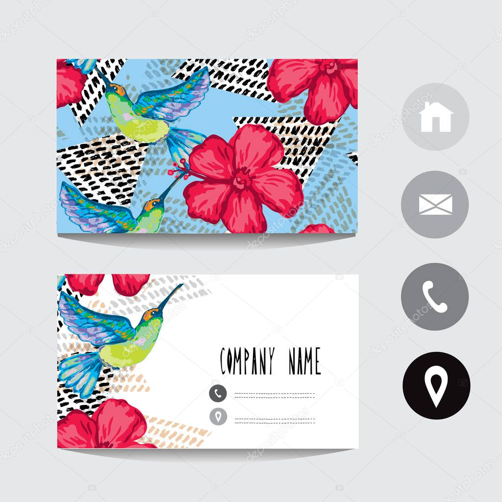 Business Card Template Colibri Hibiscus Flowers Design Element Can