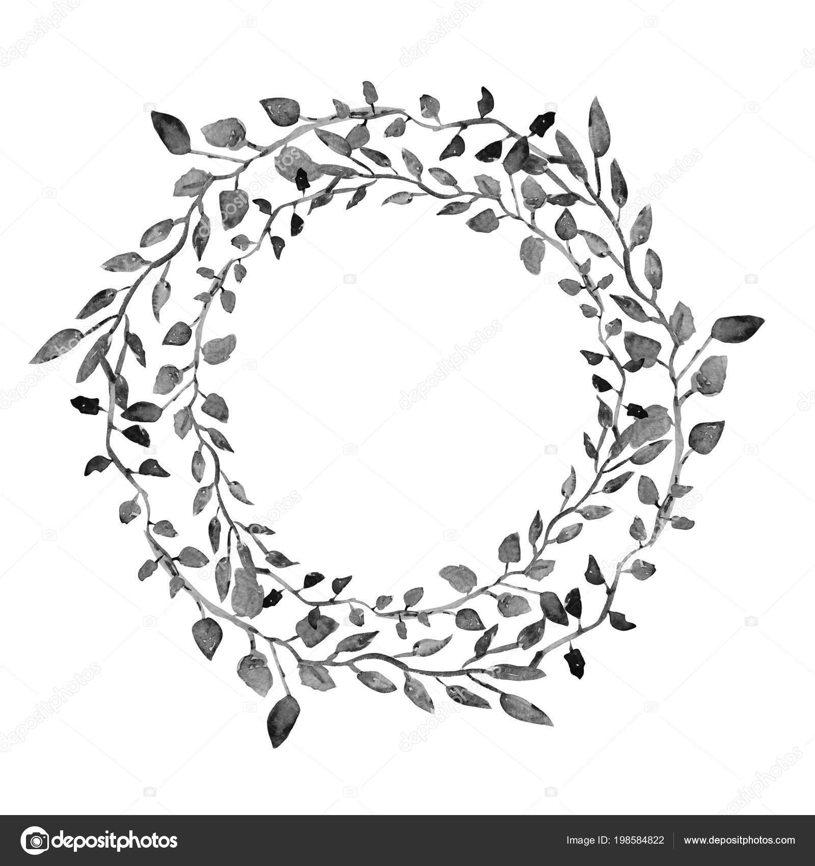 Elegante Aquarell Blumenkranz Design Element Einsetzbar Fur Hochzeit