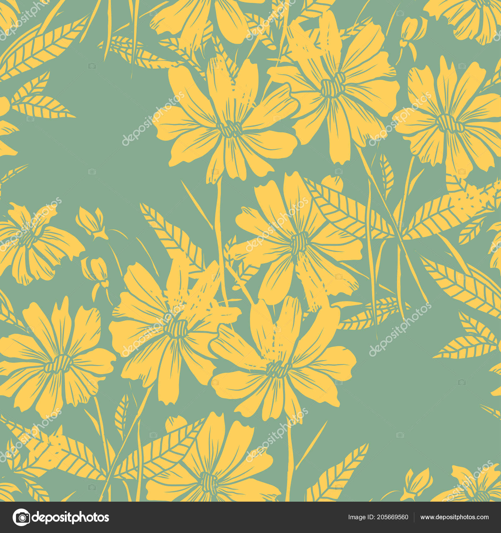 Elegant Seamless Pattern Abstract Flowers Design Elements