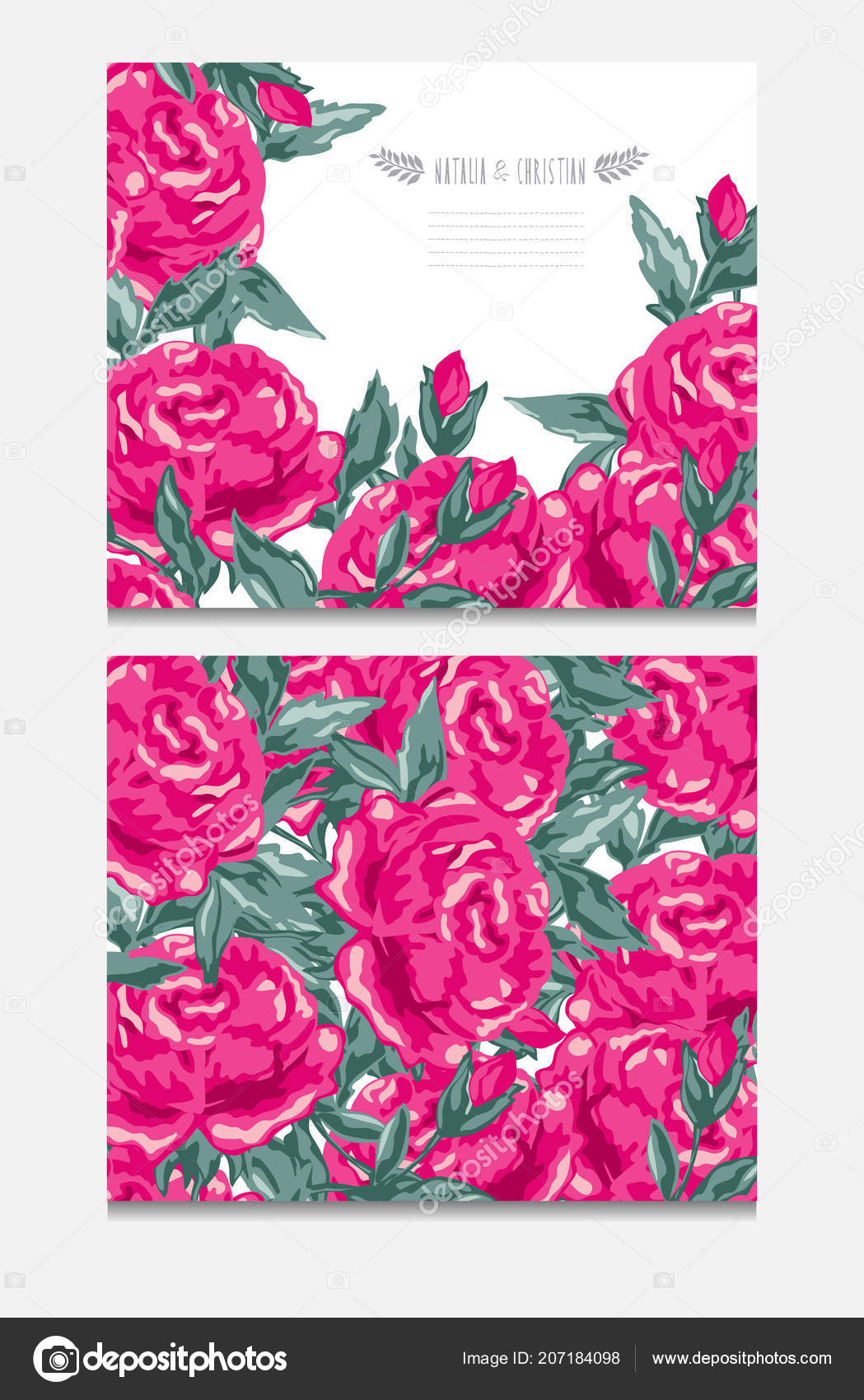 Elegant Cards Decorative Peony Flowers Design Elements Can Used