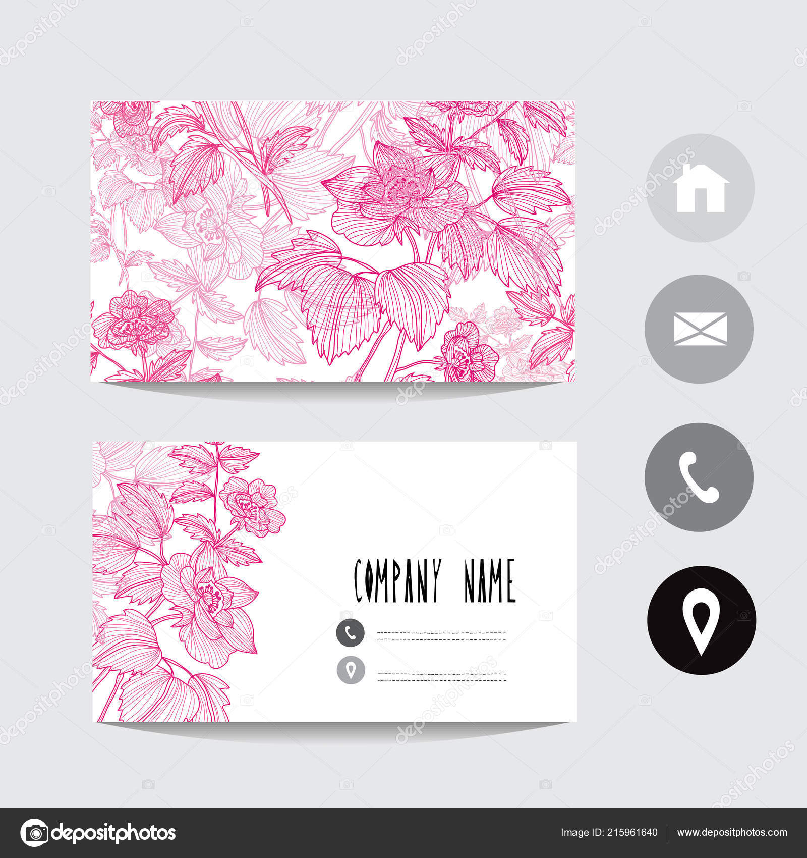 Visitenkarte Vorlage Mit Hund Rose Blumen Design Element