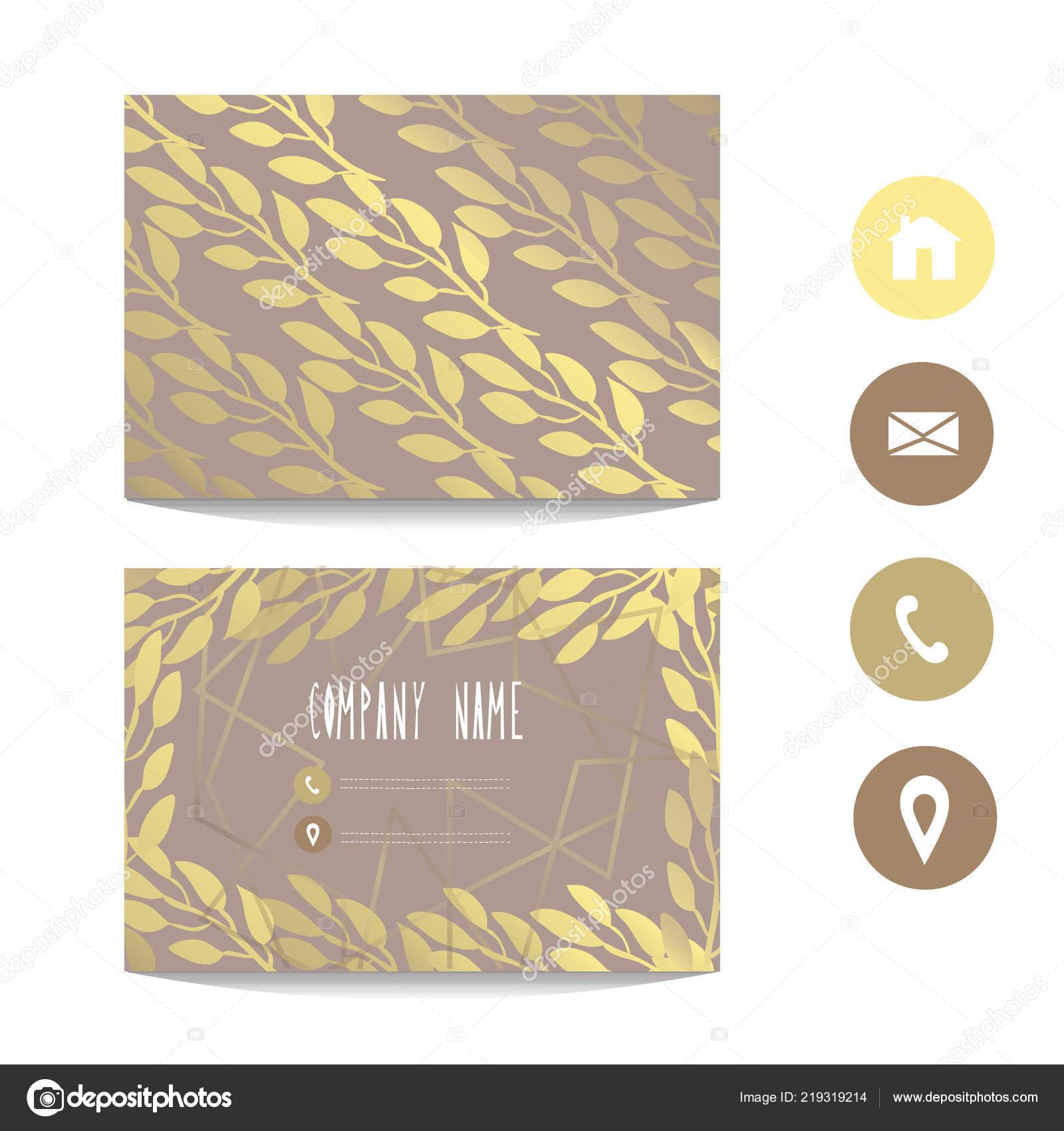 Visitenkarte Vorlage Mit Goldenen Blättern Design Element