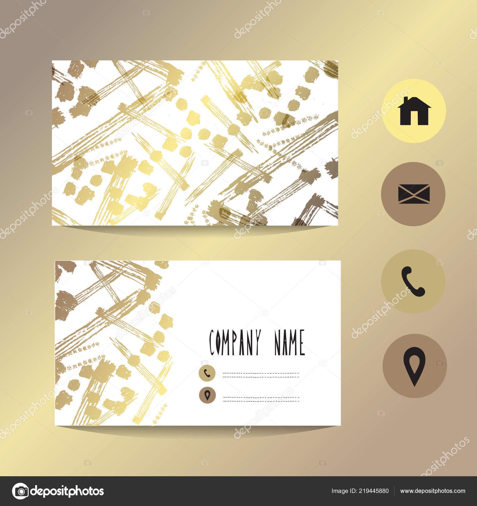 Visitenkarte Vorlage Mit Goldenen Ornament Design Element