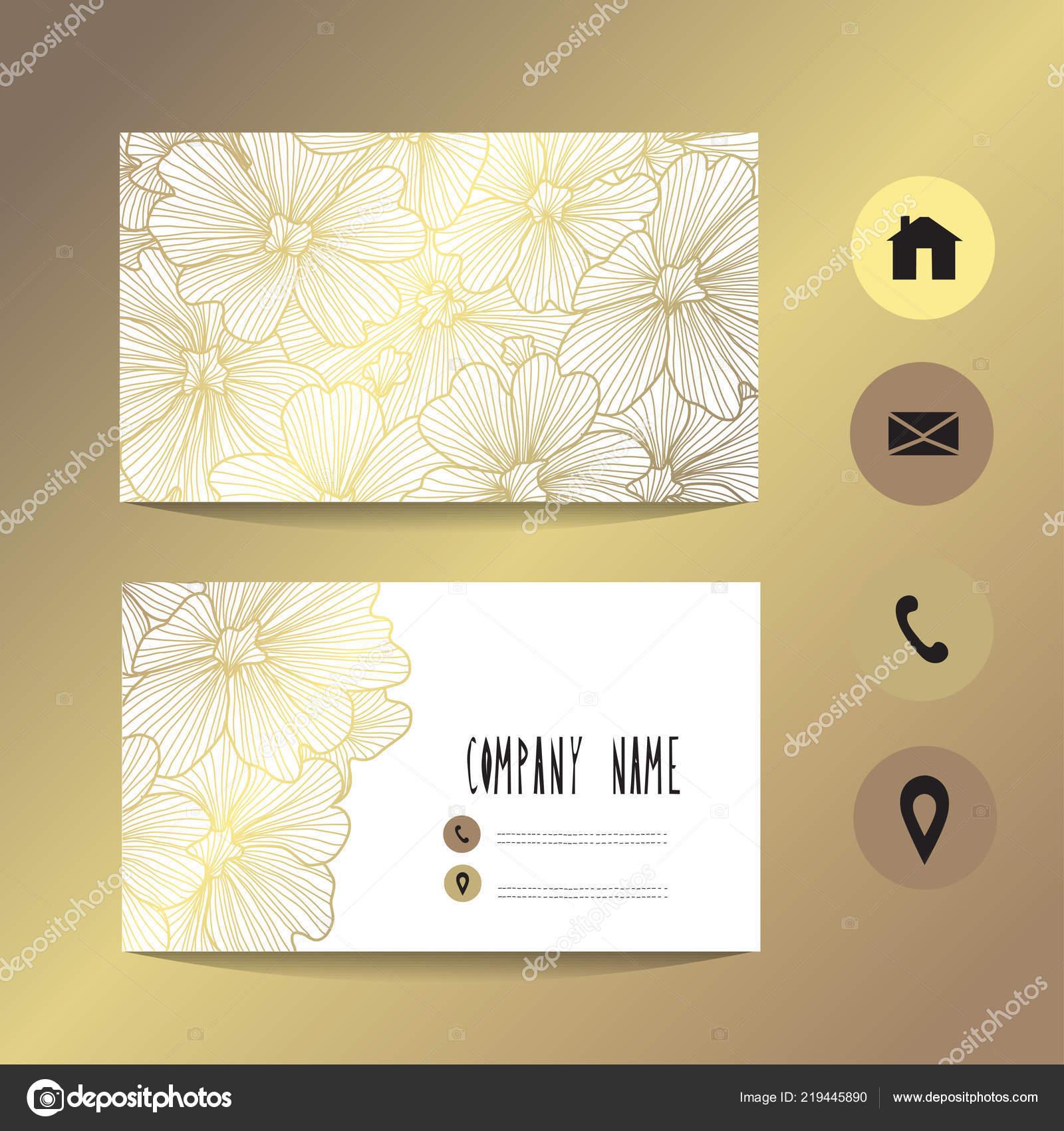 Visitenkarte Vorlage Mit Goldenen Blumen Design Element