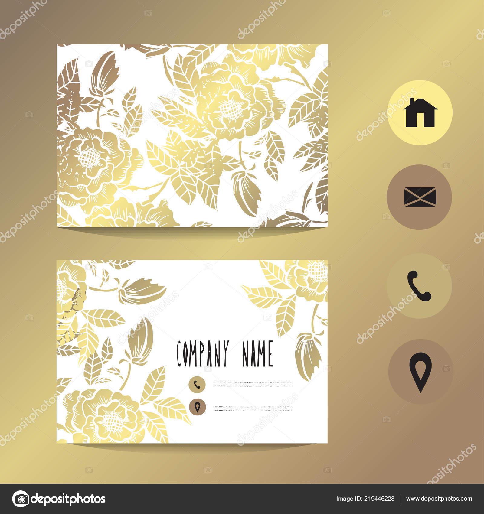 Visitenkarte Vorlage Mit Goldenen Pfingstrosen Design