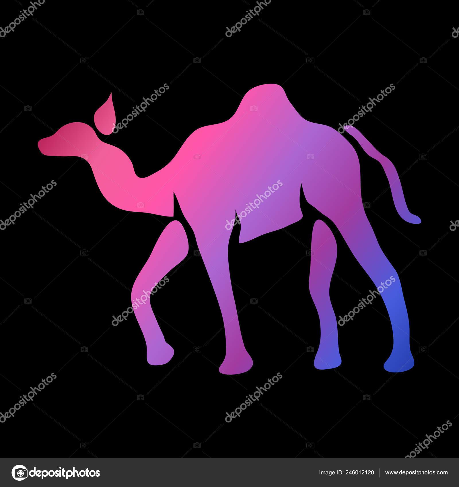 Símbolo Camel Abstracto Colores Neón Elemento Diseño Puede