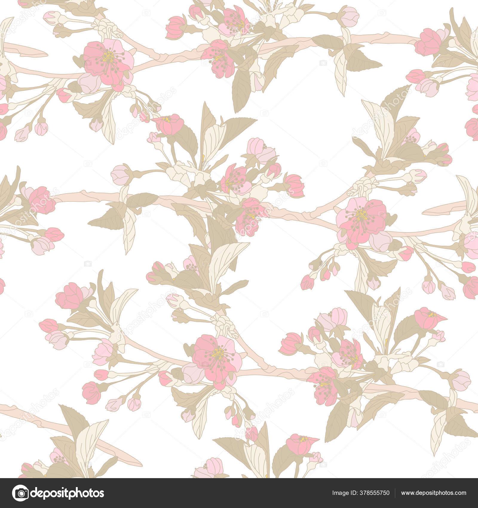 桜の花 デザイン要素とエレガントなシームレスなパターン 招待状 カード ギフトラップ ファブリック 壁紙のための花のパターン ストックベクター C Chantall