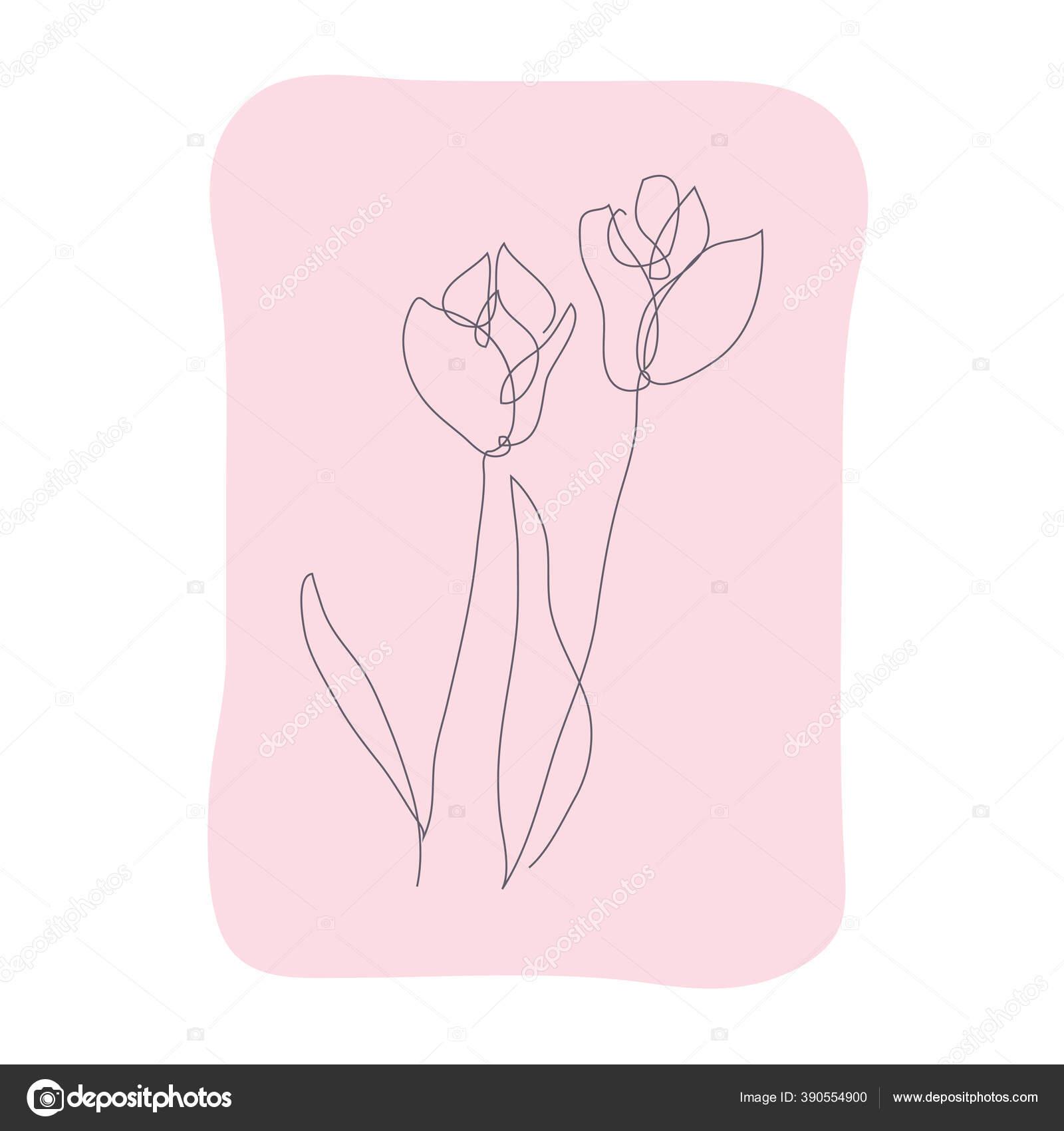 Dekorasi Tangan Gambar Bunga Tulip Desain Elemen Dapat Digunakan Untuk Stok Vektor C Chantall 390554900