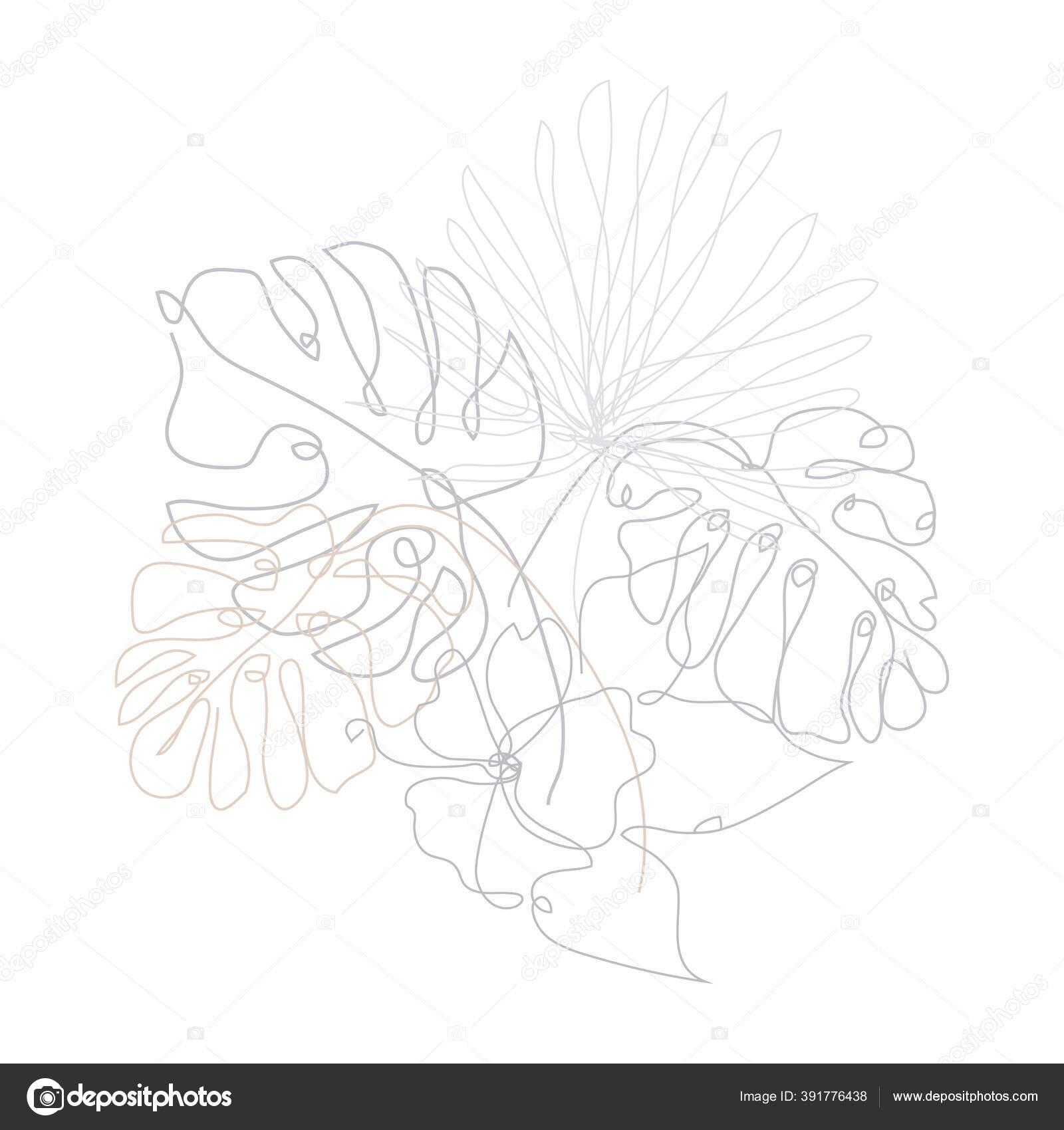 Tangan Dekoratif Digambar Daun Tropis Dan Kembang Sepatu Elemen Desain Stok Vektor C Chantall 391776438