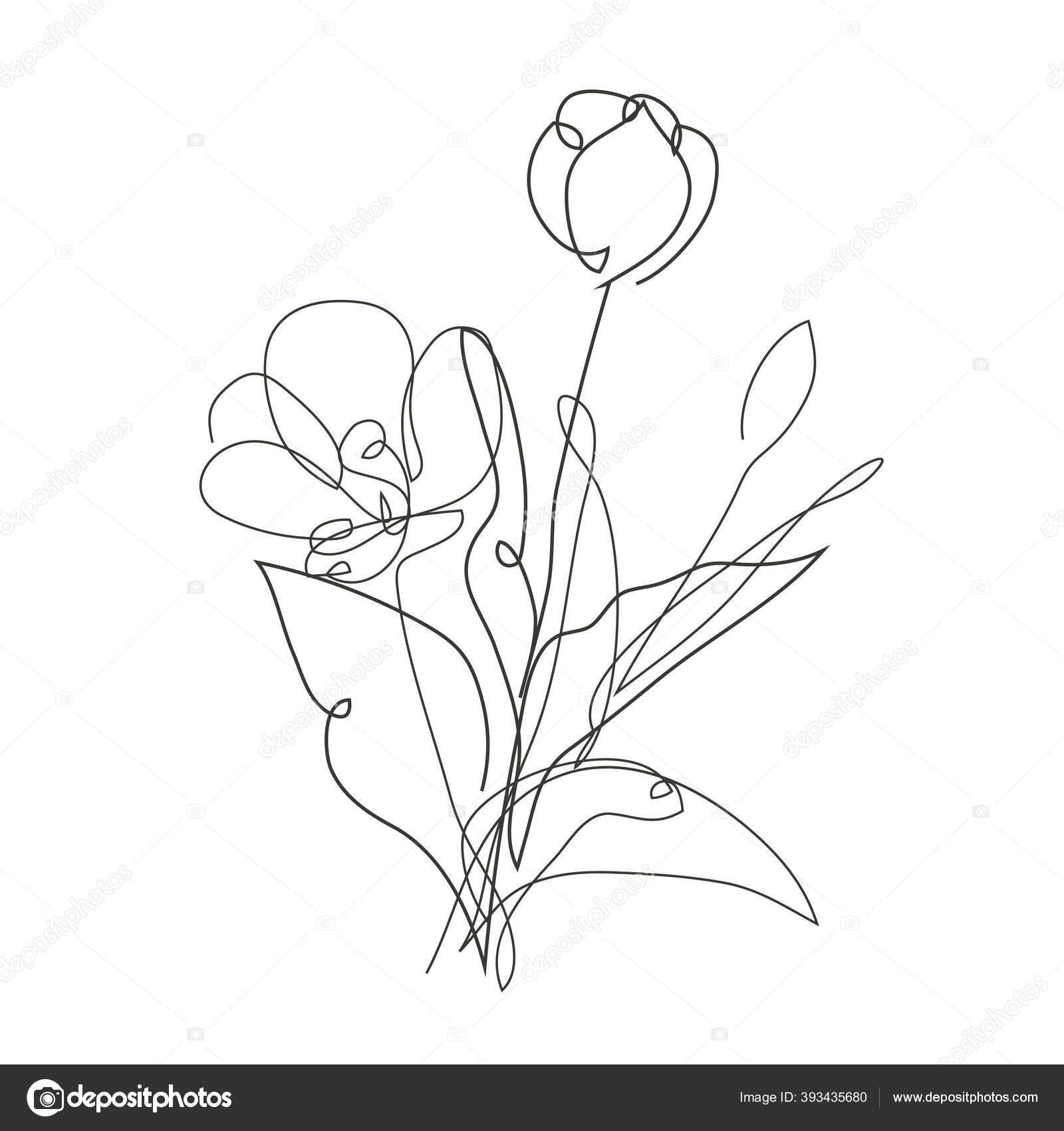 Dekorasi Tangan Gambar Bunga Tulip Desain Elemen Dapat Digunakan Untuk Stok Vektor C Chantall 393435680
