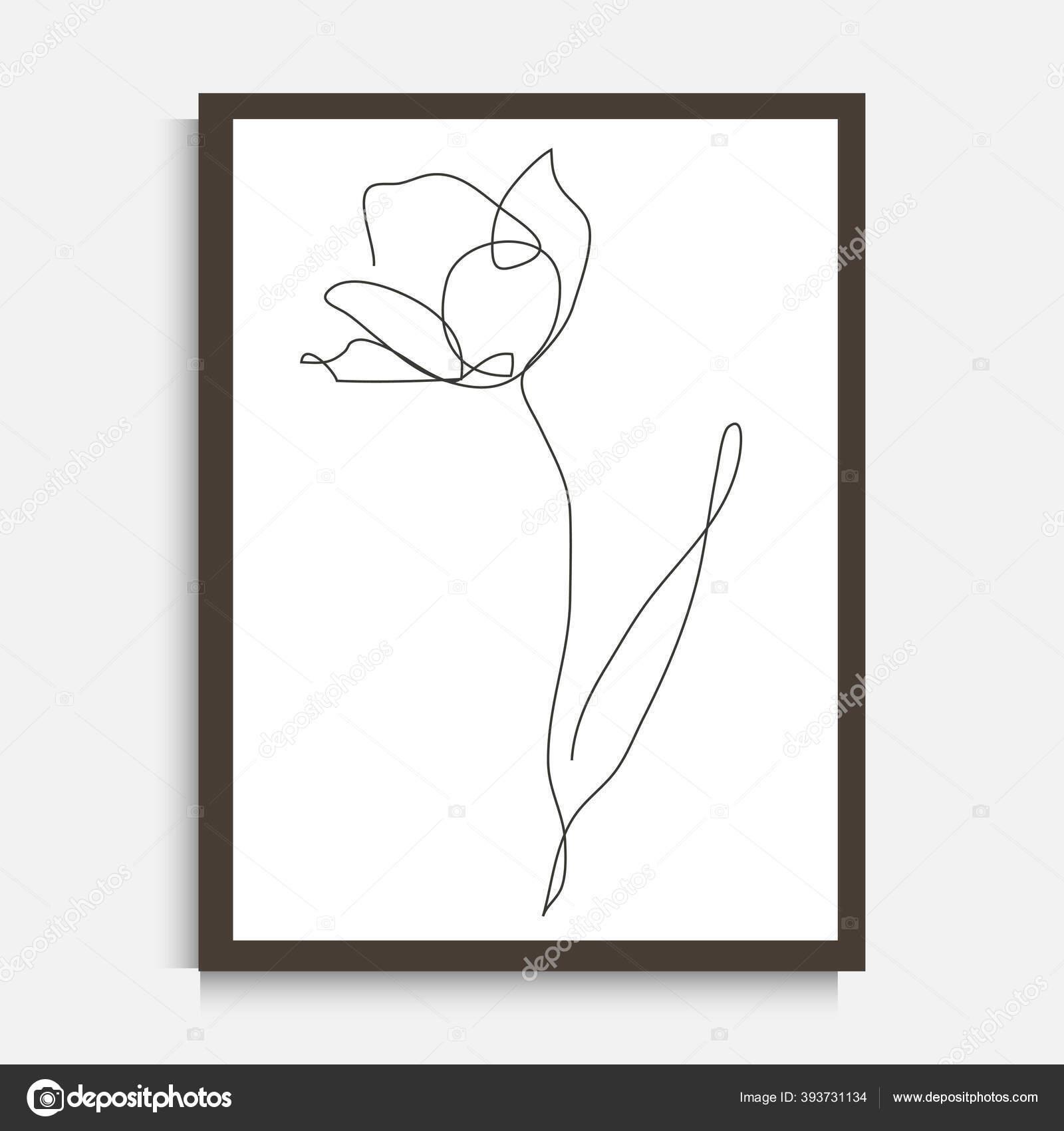 Dekoratif Garis Terus Menerus Menggambar Bunga Tulip Elemen Desain Dapat Stok Vektor C Chantall 393731134