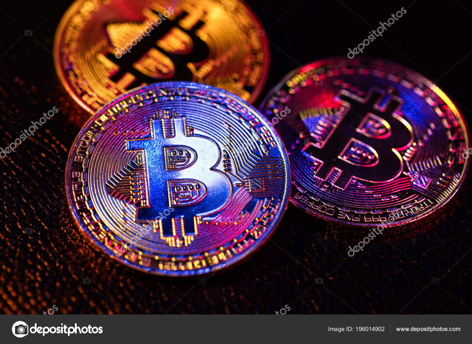 Three Coins Bitcoin Logo Laying Black Background – Stock