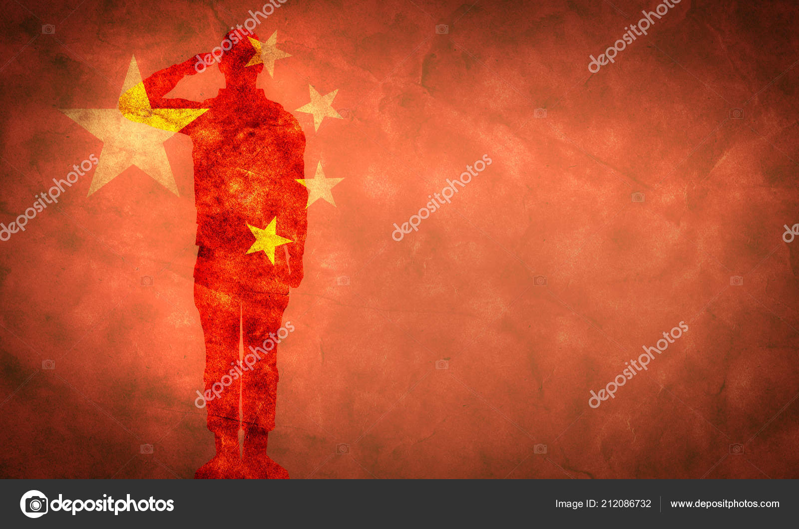 chinese grunge flag soldier silhouette vintage retro style stock
