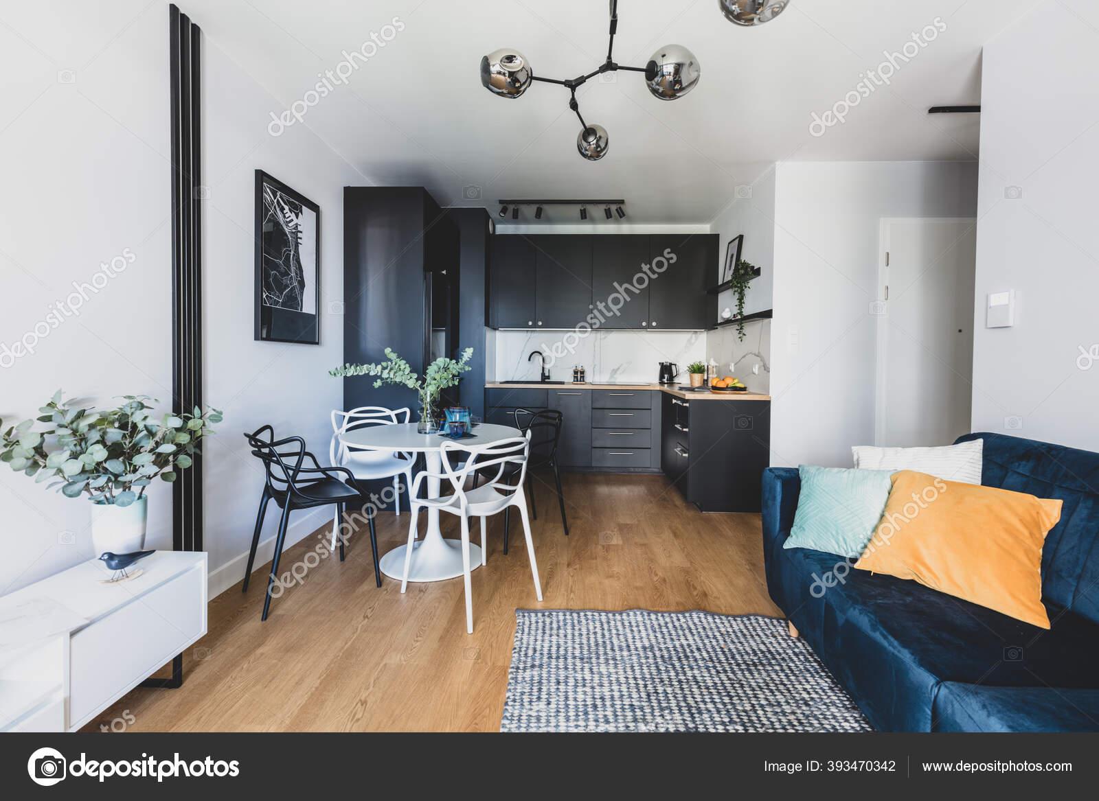 Living Room Kitchen Annexe Modern Studio Apartment Rent Interior Design Stock Photo C Photocreo 393470342