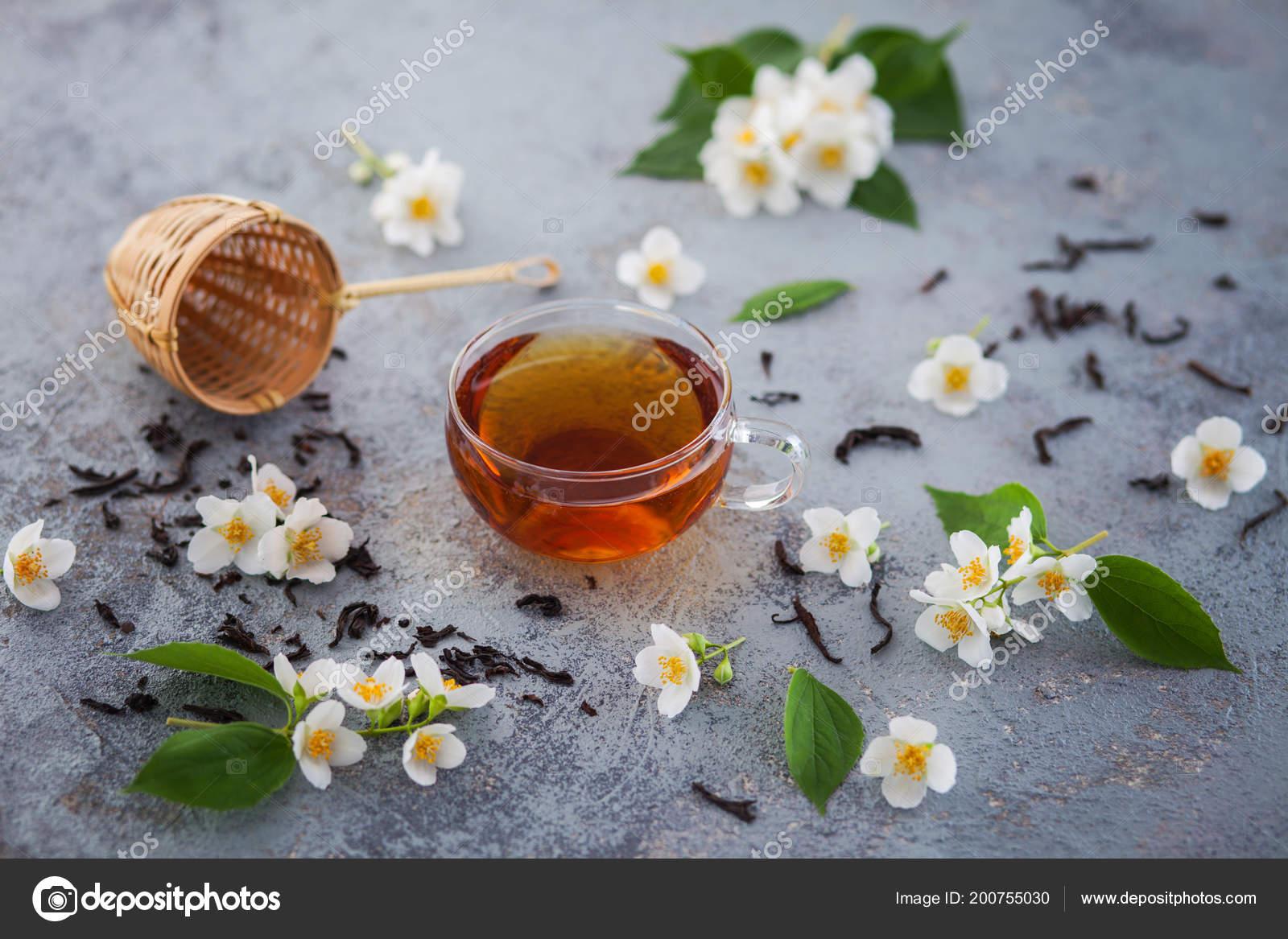 Glass Cup Jasmine Tea Fresh White Flowers Wicker Strainer Grunge