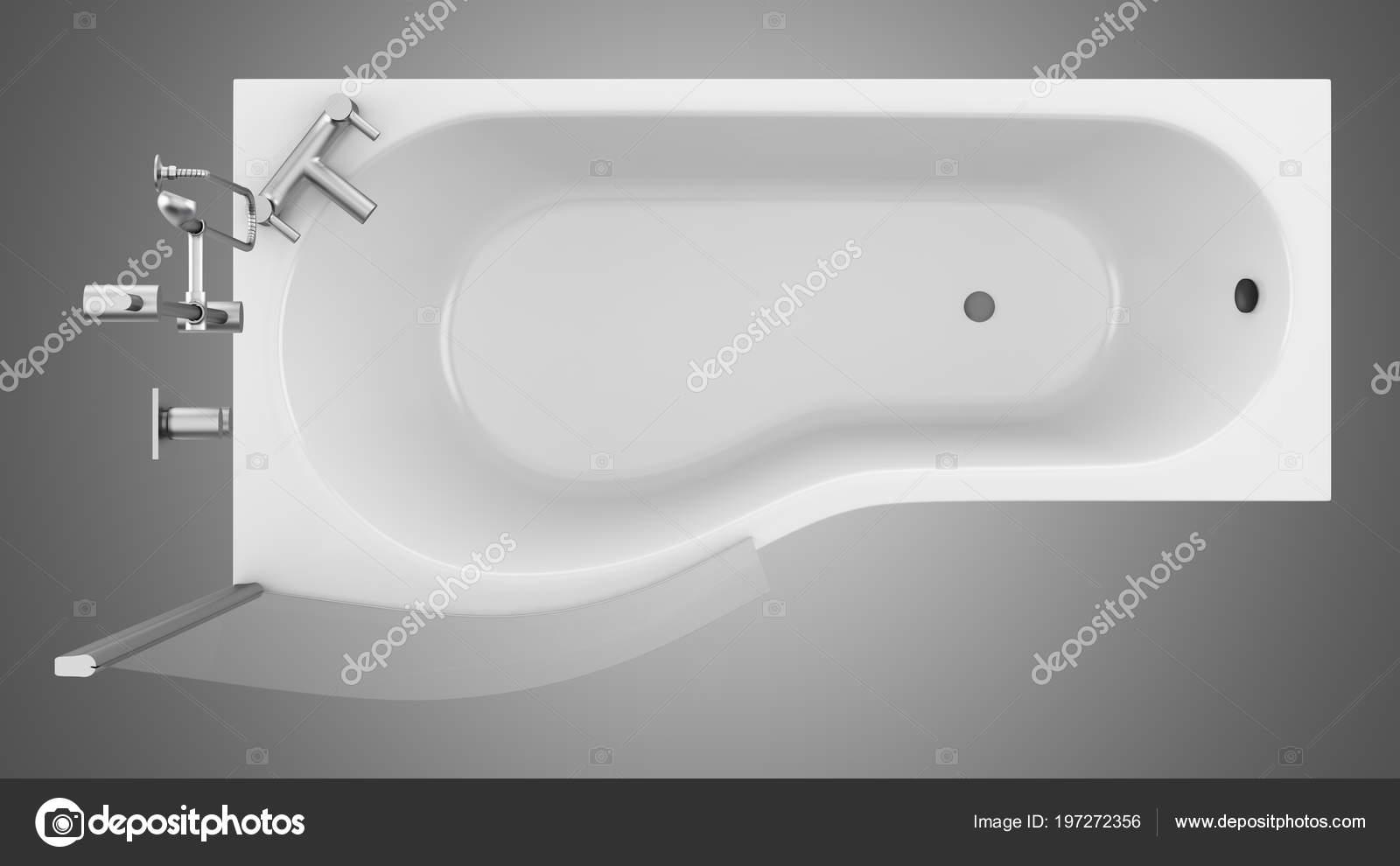 Vasca Da Bagno Vetro : Vista superiore della vasca bagno moderno con doccia vetro isolato