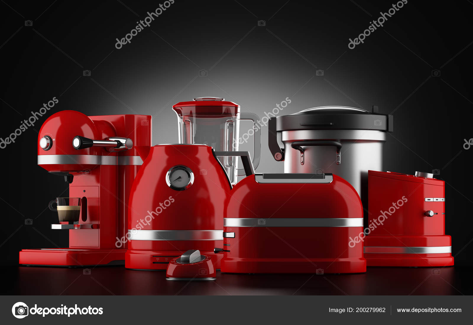 Red Kitchen Appliances Black Background Illustration — Stock ...