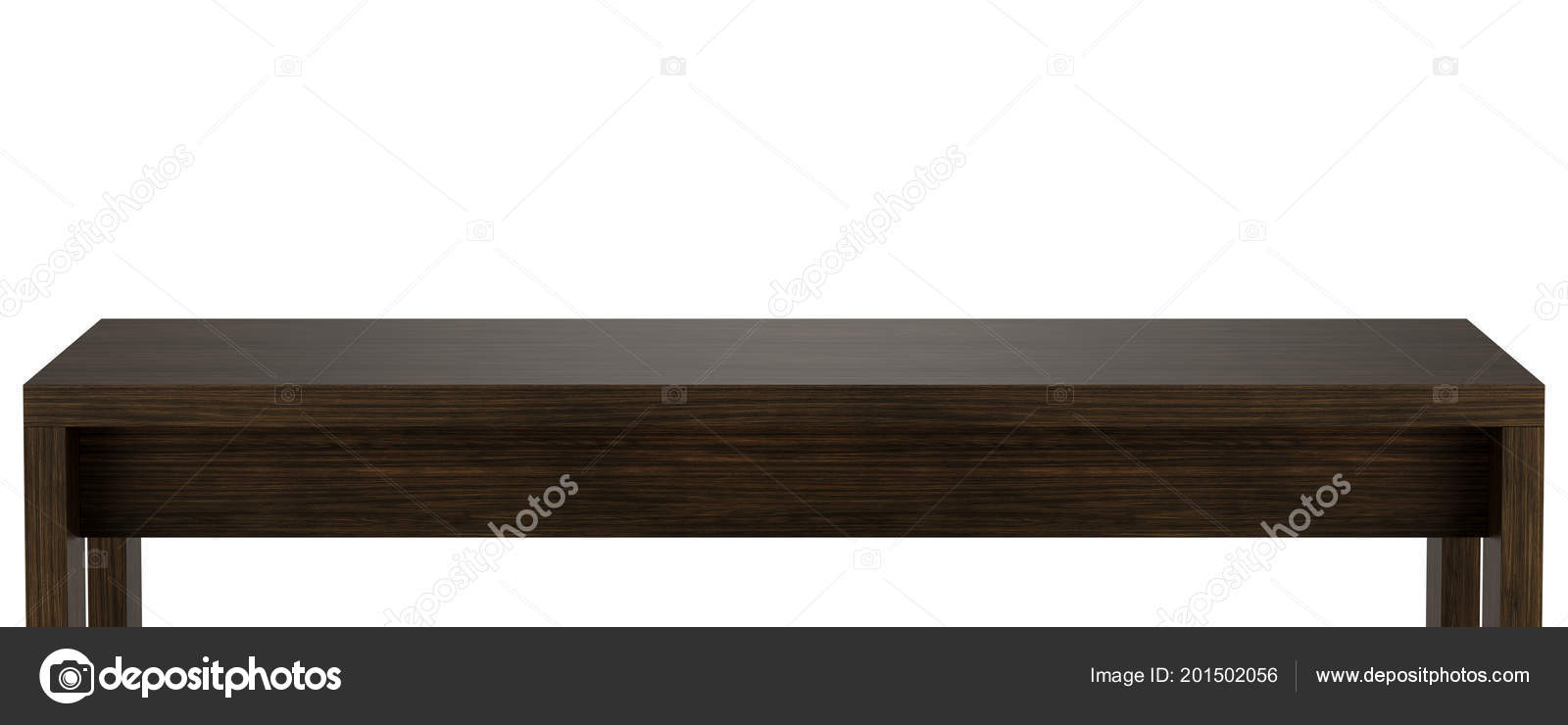 Wooden Table Top Template Isolated White Background Illustration