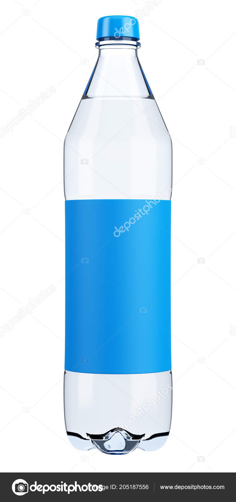 Plastic Water Bottle Blank Label Template Isolated White Background