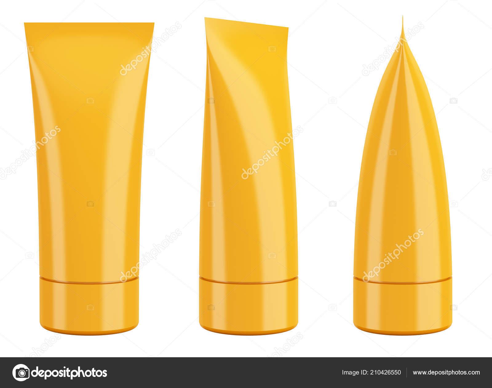 Blank Orange Cream Cosmetic Toothpaste Tube Isolated White