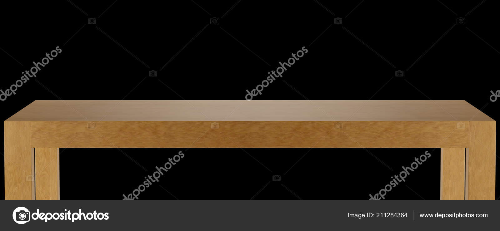 Wooden Table Top Template Isolated Black Background Illustration