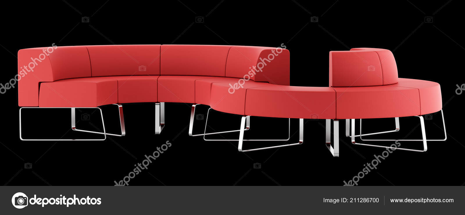 Fabulous Red Waiting Couch Isolated Black Background Illustration Machost Co Dining Chair Design Ideas Machostcouk