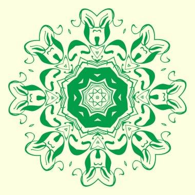 green, octagonal, symmetrical, geometric pattern element. For design and creativit