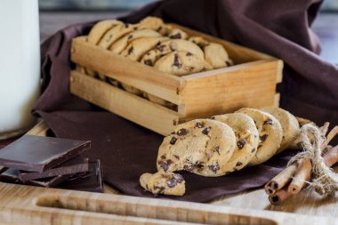 cookies with milk and chocolate