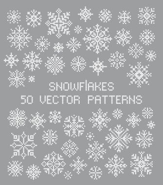 Scheme of knitting and embroidery. Winter ornament. Vector pack of snowflakes design templates. icon