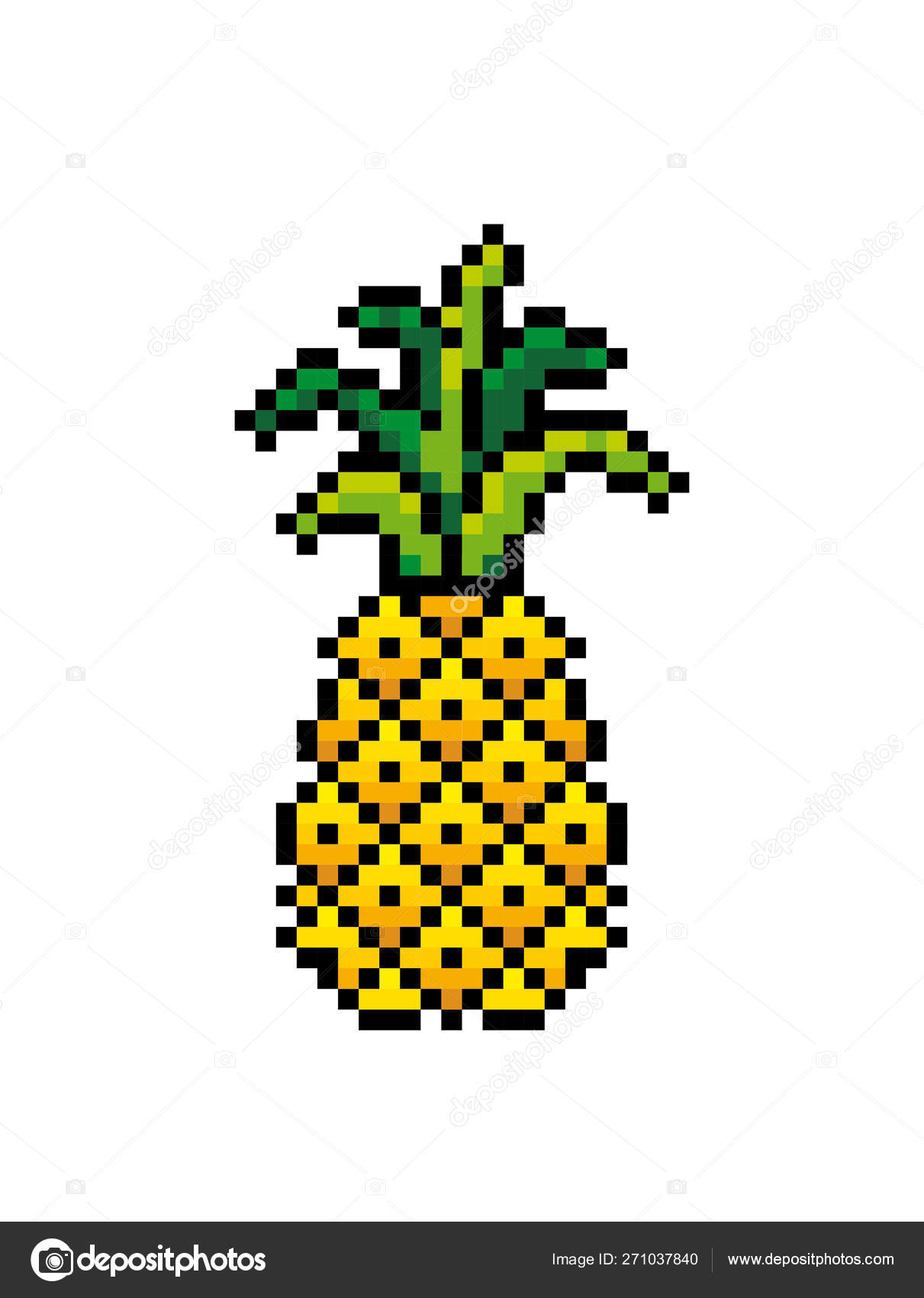 Pineapple Icon Pixel Art Scheme Of Knitting And Embroidery