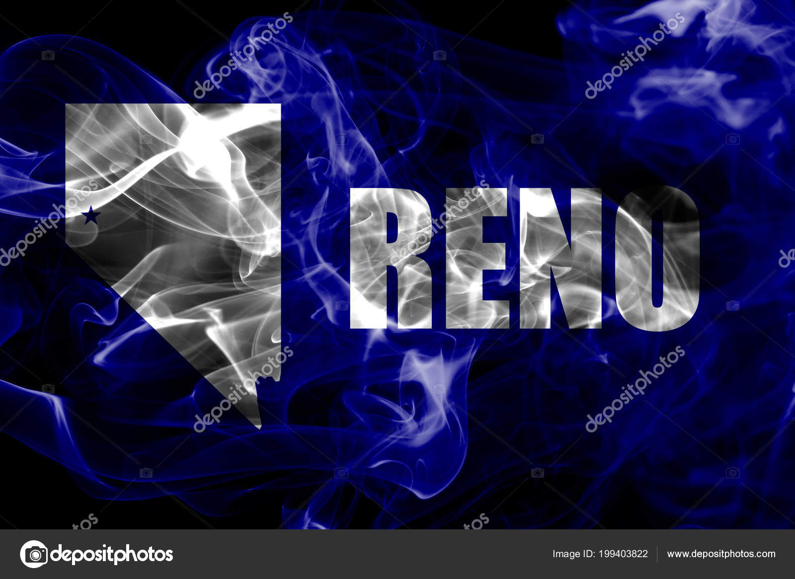 Reno City Smoke Flag Nevada State United States America