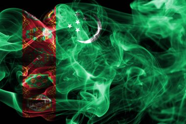Turkmenistan smoke flag, sovereign state in Central Asia