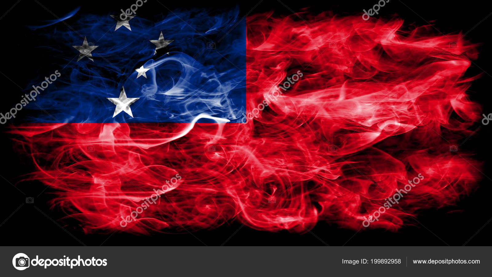 Samoan pride wallpaper Samoa Smoke Flag Black Background — Stock